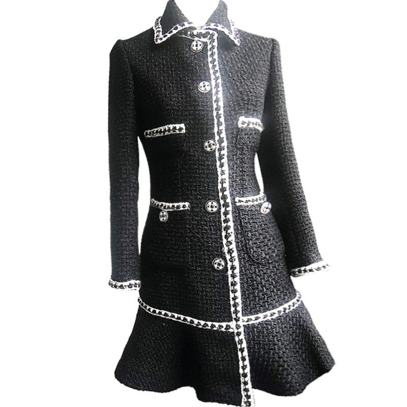 Robe De Femelle Petit Mince Vent Noir Style Manteau Long Parfumé D'hiver Laine Nouveau T1Owx7q7