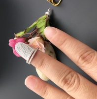 JINYAO 패션 레이디 소녀 독특한 손톱 링 골드 컬러 크리스탈 AAA Ziron 웨딩 네일 여성 약혼 반지 패션 이인