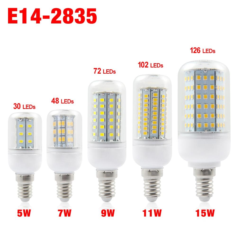 TSLEEN Full New LED lamp E14 220V 30/48/72/102/126 LEDs Corn Bulb Chandelier Candle Spot light Replace CFL 5W 7W 9W 11W 15W