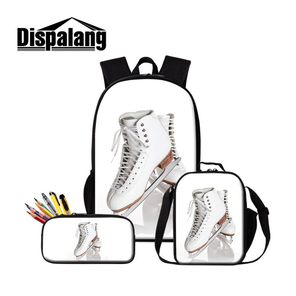 Dispalang 3Pcs/Set Women Backpacks Ice Skates Print School Bags with Pencil Bag For Teenage Girls Cooler Bag for Children
