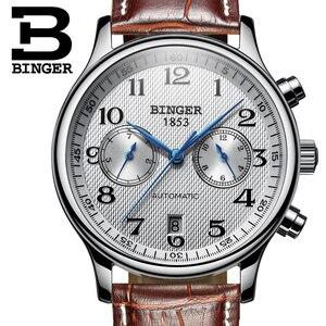 Image 3 - Switzerland Binger Luxury Brand Mens Watches Relogio Waterproof Watch Male Automatic Mechanical Men Watch Sapphire B 603 54