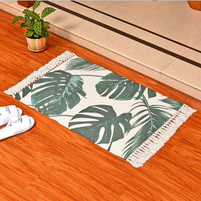 Tropical Banana Leaf Print Bedside Rug