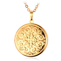 Vintage Flower Photo Frame Floating Photo Locket Pendants 18K Gold Plated Choker Necklace Pendant Charms Jewelry