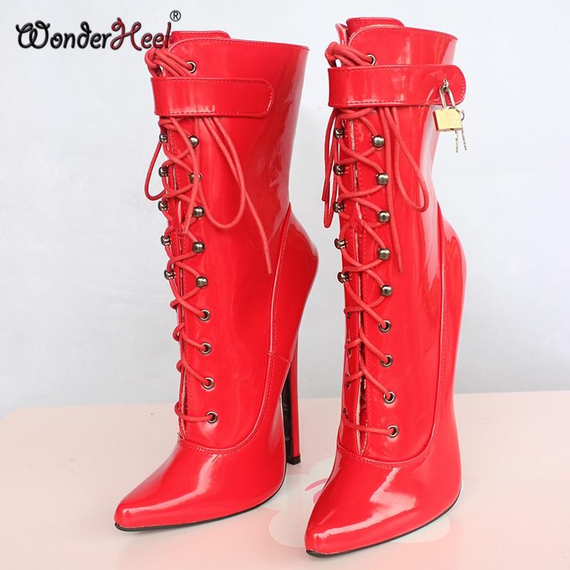 1de569db90f2 ... Wonderheel Hot Extreme high heel 18cm 7″ Stiletto Heel sexy fetish ankle  boots buckles ...