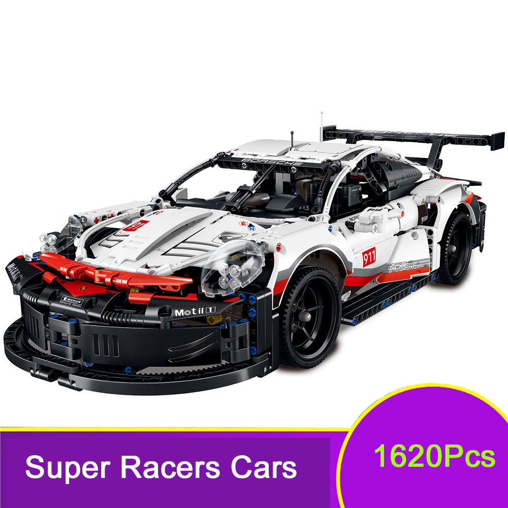 Super Racers Technic City Speed Champions White Super Racing Car 1620Pcs Building Blocks fit major Brand