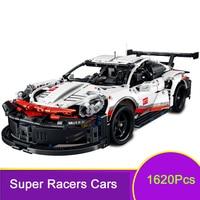 Super Racers Technic City Speed Champions White Super Racing Car 1620Pcs Building Blocks suitable LegoINGlys Bricks Kid Cool Toy