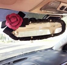 Камелия цветок автомобиля интерьер зеркало заднего вида кожаный чехол авто зеркало заднего вида украшения аксессуары для женщин и девочек
