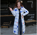 Europe New Style Fashion Women Winter Coat Elegant Hooded Printing Long Down jacket Slim Leisure Big yards Thick Warm Coat G2150
