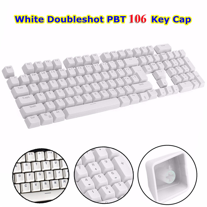 Hot Sale White 106 Keys Backlit Gaming Keyboard Keycap Top Printed Backlight Key Cap For Gaming Mechanical Keyboard PC