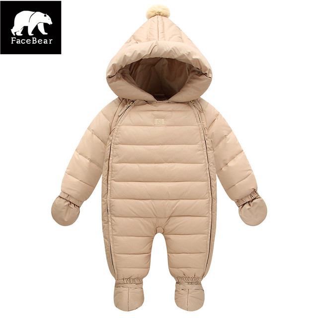 2017 Cute winter baby jumpsuits with glove boots 6-24M children's costume infant coat down baby boy jacket for girls snowsuits
