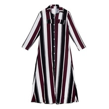 Women Spring Autumn Long Sleeve Stripe Maxi Dresses Turn-Down Collar Button Lace Long Shirt Dress long sleeve button down mini shift dress