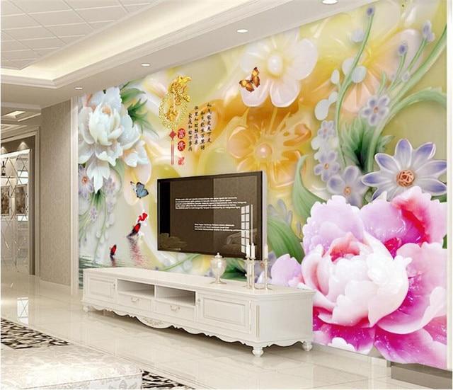 Jade schnitzereien große papel de parede 3D wandbild wand papier für  wohnzimmer hintergrund custom foto tapete wände