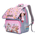 2016 School Bags for Girls Orthopedic Children's Backpack 9 Colors Available Light&Waterproof Cat Print  Bag with Doll Grade 1-5