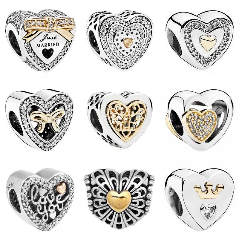 d79dca056c71 El corazón de la boda del Color del oro se une siempre en mi corazón se  adapta a la pulsera de Pandora joyería del grano de plata esterlina 925