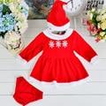 3 unids/set lindo niños ropa de navidad del traje de las niñas ropa bebé niñas vestidos rojos de la navidad para la muchacha ropa de ninas