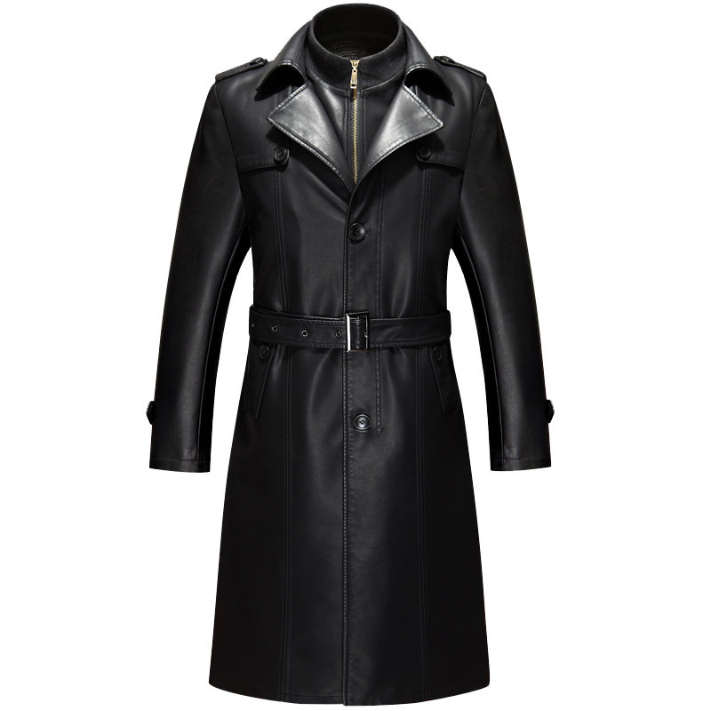 European and American Style Mens Trench Coat Faux Leather ...