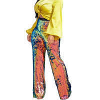 High Waist Rainbow Sequin Pants Women Casual Trousers Glitter Stretchy Straight Wide Leg Pants Club Wear Party Sparkly Pants