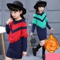 Кисти руно трикотажные платья осень-зима свитер для девочек вязание длинные основные свитер зимние девушки детские платья красный зеленый топ