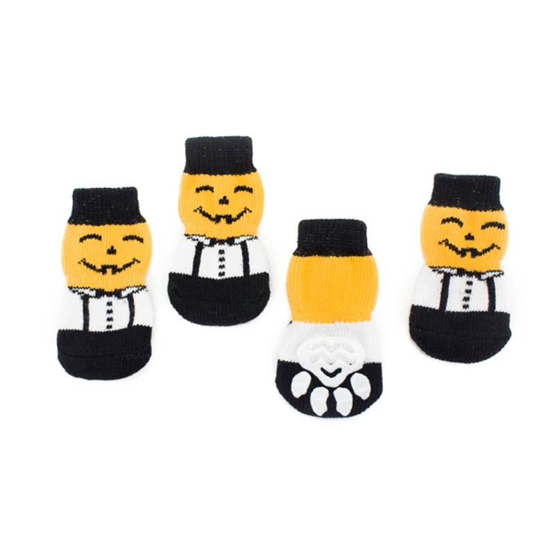 4 шт., вязаные нескользящие носки для домашних животных, для собак, для Хэллоуина, для домашних животных, с рисунком тыквы, лапы, носки, размер s, m, l, xl, аксессуары для домашних животных