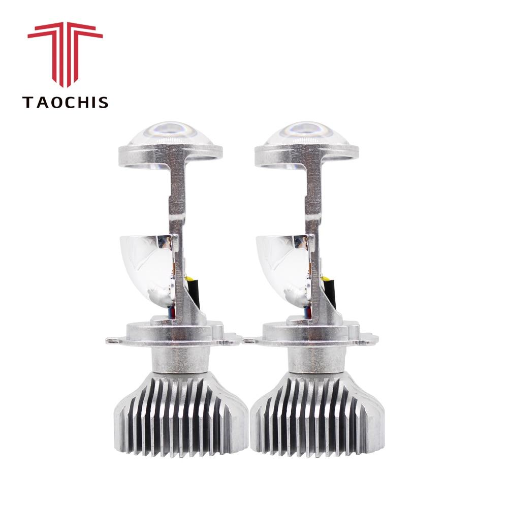 TAOCHIS 2 pièces H4 LED hi-lo mini projecteur lentille phare pour voiture clair faisceau 12 V 5500 k pas astigmate problème