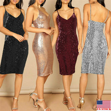 Summer Casual Women Sexy Sleeveless V- Neck Sequin Dress Vintage Elegant Party A-Line