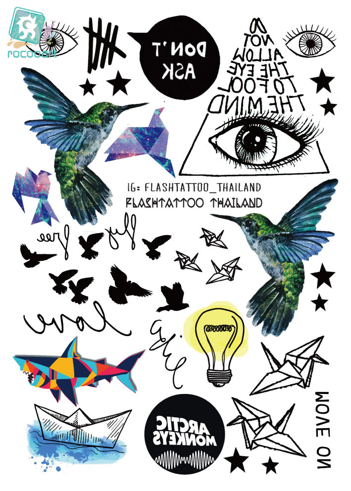 Rocooart A6080-209 Tatuagem negro Taty Body Art Etiqueta engomada del tatuaje temporal Gradiente Colorido Birds Eye Shark Glitter Tatoo Sticker