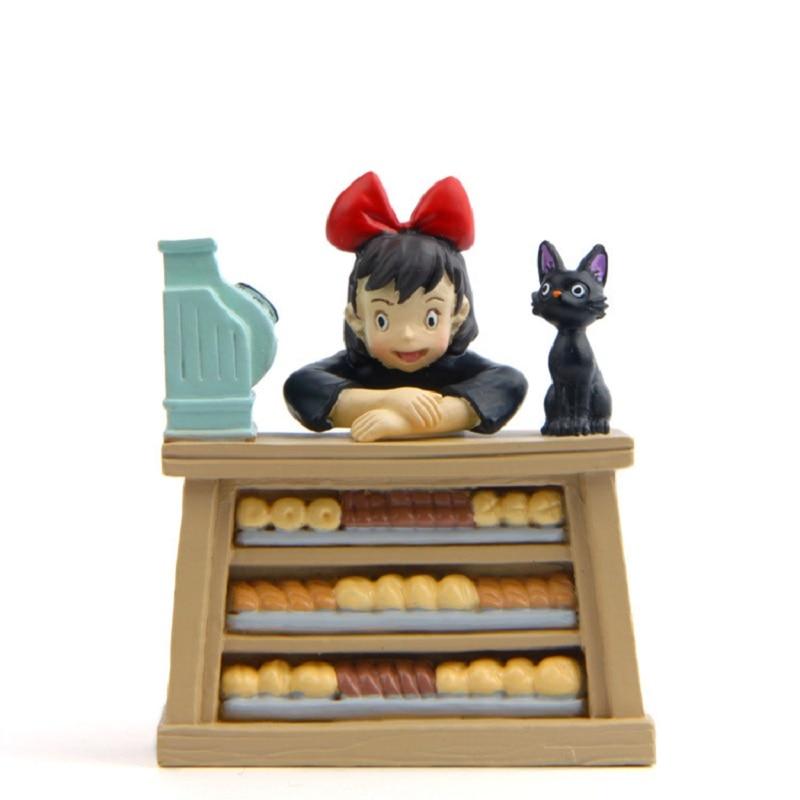 DIY Studio Ghibli Miyazaki Kiki's Delivery Service Kiki Cat Couple Cats PVC Action Figures Collection Model Toy for Garden Decor new kiki gigi bakery kiki s delivery service reconstruction animiation action figure doll house kid toy miniature diorama model