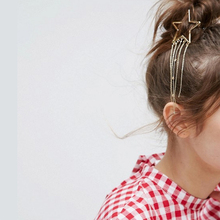 2019 summer new European and American fashion hollow five-pointed star tassel hairpin womens moon