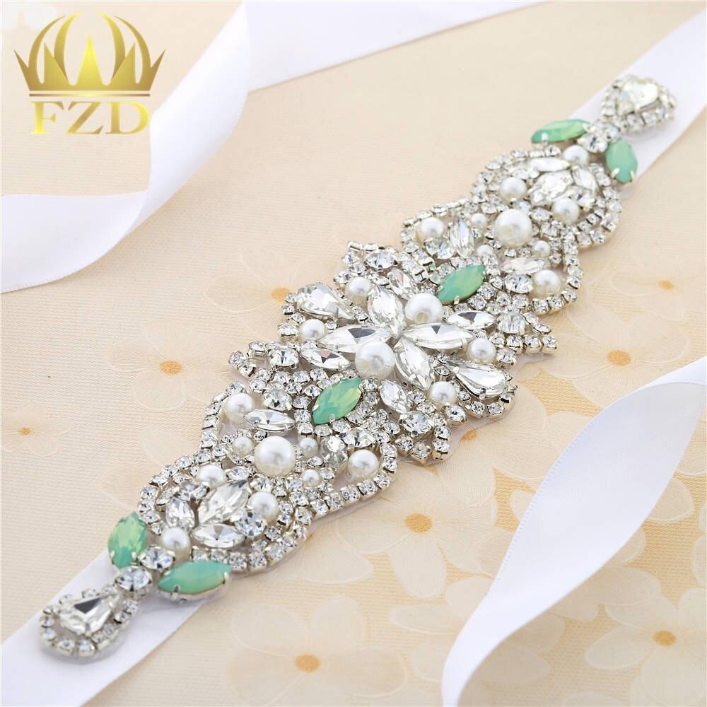 Handmade Hot Fix Sewing on Pearls Beaded Bridal Sash Swarovski Green Rhinestone Applique for Garments Wedding Dress Sashes Decor