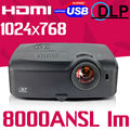 Mejor Cine En Casa Negocio USB HDMI 300 inch 5000ANSI 8000 video Al Aire Libre Blu ray 1080 p full HD 2 K 4 K Proyector DLP Proyector beamer