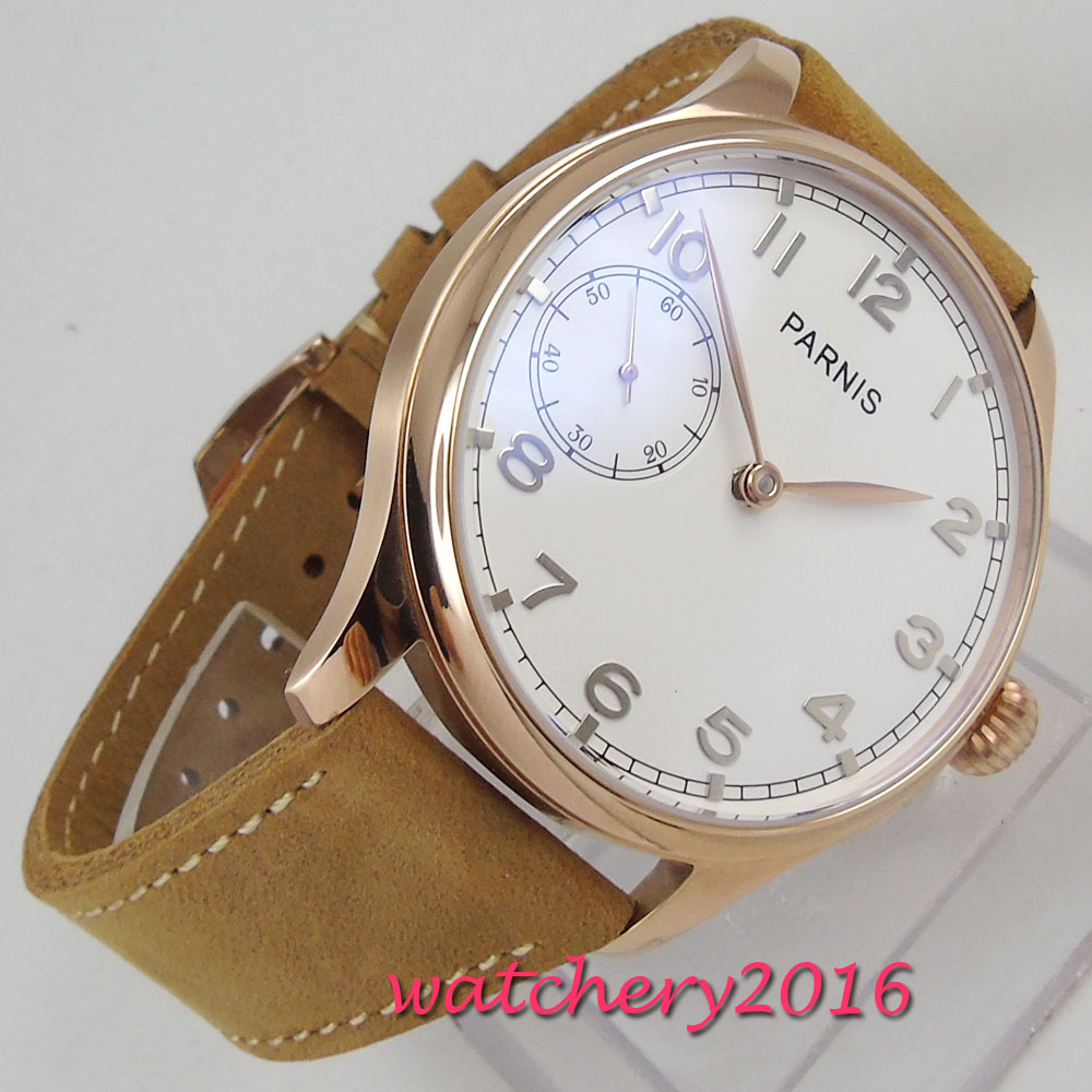 44mm PARNIS White Dial Mechanical Watch Top Brand Luxury Rose Golden Plated Steel Case 6497 Hand Winding movement men's Watch