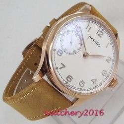 44mm PARNIS biała tarcza mechaniczny zegarek Top marka luksusowe Rose złoty stal ocynkowana Case 6497 ręczne nakręcanie ruch mężczyzna zegarka