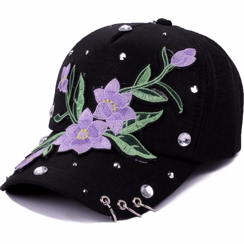 New Summer Baseball Cap Women Floral Embroidery Snapback Hat Caps For Girls Casquette Gorras Rivet Bone Hip Hop Cap With Rings gold embroidery crown baseball cap women summer cap snapback caps for women men lady s cotton hat bone summer ht51193 35