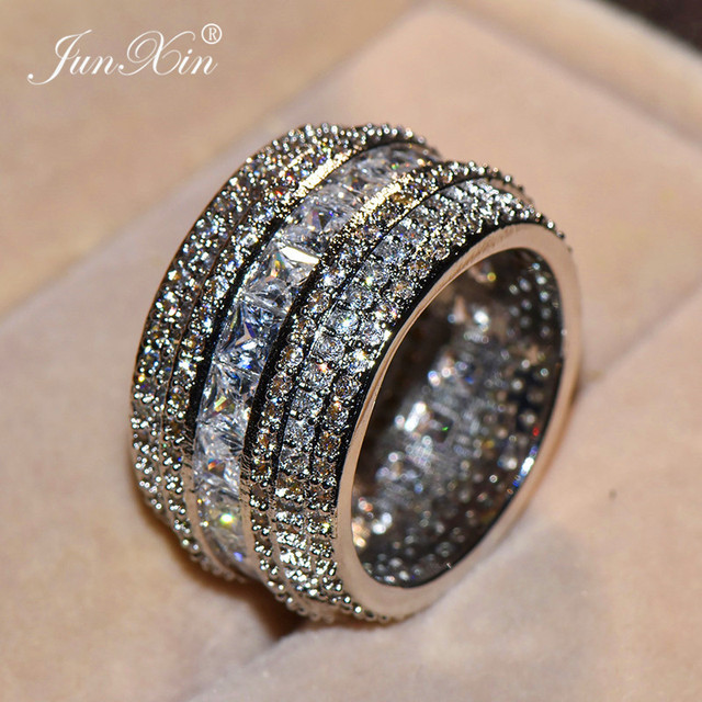 Phụ Nữ sang trọng Lớn Đầy Đủ AAA Zircon Nhẫn Nữ Stackable Nhẫn Set 925 Bạc Trang Sức Cưới Lời Hứa Eternity Engagement Ring
