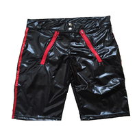 New Arrival Sexy Men Patent Leather Zipper Tight Shorts Wetlook Clubwear Boxer Briefs Pants