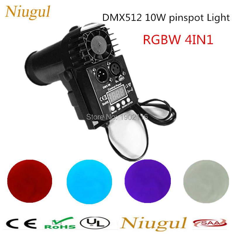 RGBW 10W Spotlight Stage Effect Pinspot LED Light  Auto/DMX512 DJ Lighting Control LED Wash Beam Lights for Disco KTV Club Party high quality 9x10w rgbw led spider beam moving head light for disco dj bar club led beam wash light dmx effect stage lighting