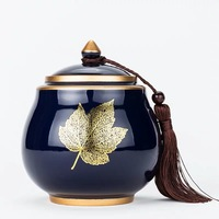 Elegant tea caddy with gold inlay puer black tea sealed canister ceramic tea storage tank chest canister