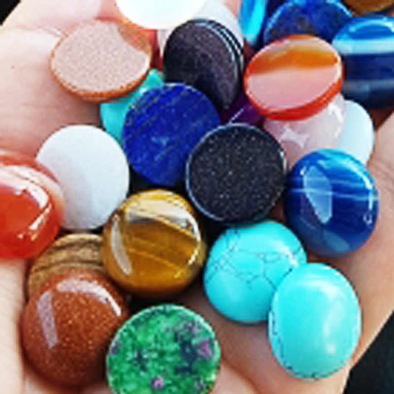 FLTMRH Fashion mixed   natural stone Cabochon bead no hole 6 8 10 12 14 16 18 20 MM Single arc jewelry Ring accsories