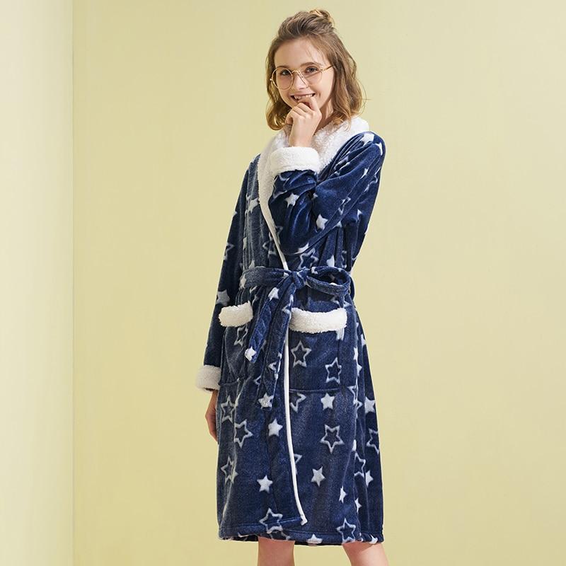 THREEGUN Women Robe Warm Flannel Bathrobe Autumn Winter Female Sleepwear Lounges Home wear Pyjamas Wom Dressing