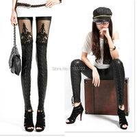 Punk Gothic Black Faux Leather Leggings Lace Floral See Through Cross Bandage Tied Tights S XL