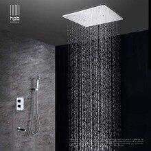 Stropní dešťový sprchový systém s leštěným chromovým povrchem a skrytým rámem