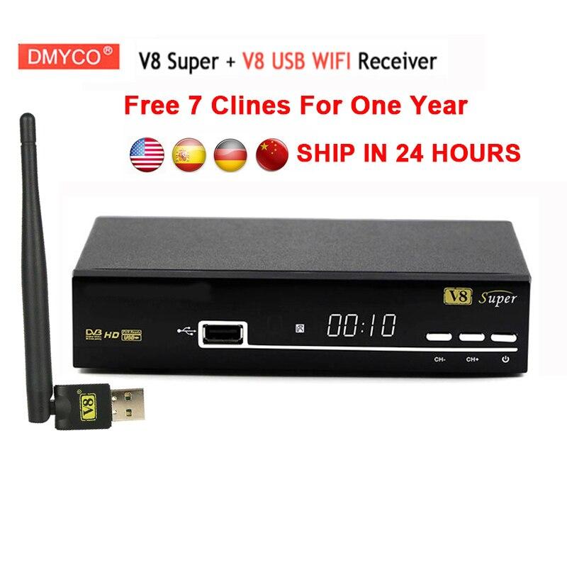 7 clines for 1 year europe spain portugal V8 Super DVB-S2 Satellite Receiver+usb wifi Full 1080P HD FTA lnb dvb s2 V8 Tv Recetor digital tv satellite receiver freesat v8 super dvb tuner support newcamd cccamd ccam dvb s2 hd fta freesat v8 receiver usb wifi