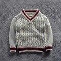 Novo 2016 primavera Outono Crianças movimento Larry Blusas Camisas do Pulôver de tricô Cardigans Quentes Tops vestuário infantil SOU-007