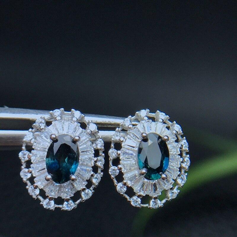 Blue Sapphire Earrings Stud 925 Sterling Silver Fashion Princess Engagement Wedding AccessoriesBlue Sapphire Earrings Stud 925 Sterling Silver Fashion Princess Engagement Wedding Accessories
