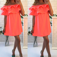 SHIBEVER Party Women Summer Dresses Beach Girl Fashion Short Off Shoulder Mini Casual Sexy Dress Ladies Boho Dress 2017 CD1329