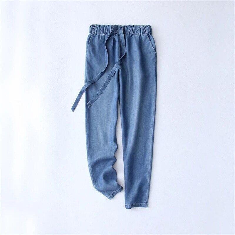 Women Trousers 2018 Autumn Summer Cotton Slimming Jeans Drawstring Trousers Denim Pants Pencil Jeans Ladies Black Large Size 1