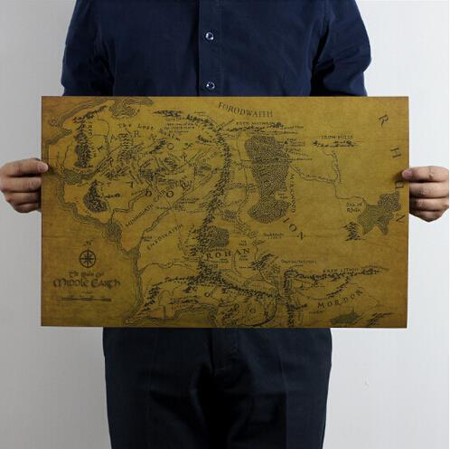 Lord of the Rings- MIDDLE EARTH Map Kraft Paper Poster 51*35cm