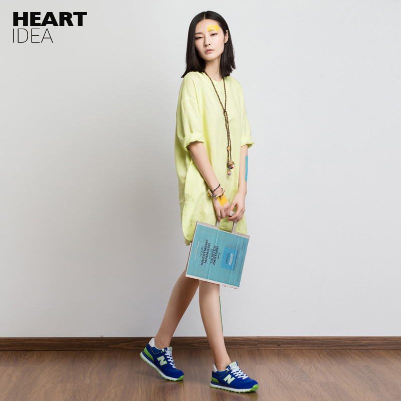 LYNETTE'S CHINOISERIE 2017 spring summer linen one piece dress female vintage preppy style medium yellow loose plus size dress