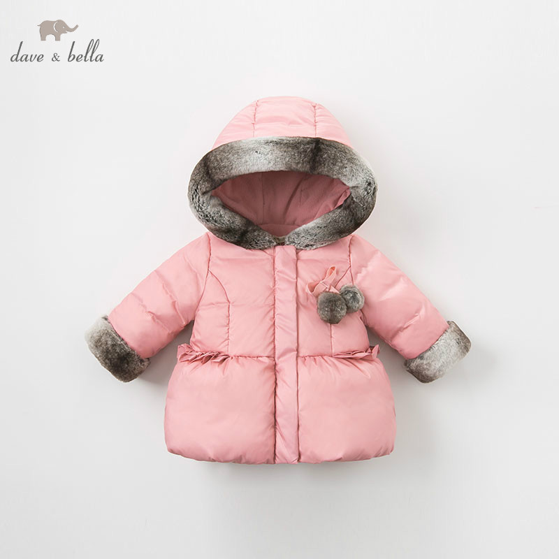 DB9650 dave bella winter baby down coat girls hooded outerwear children 90% white duck down padded kids fashion coat