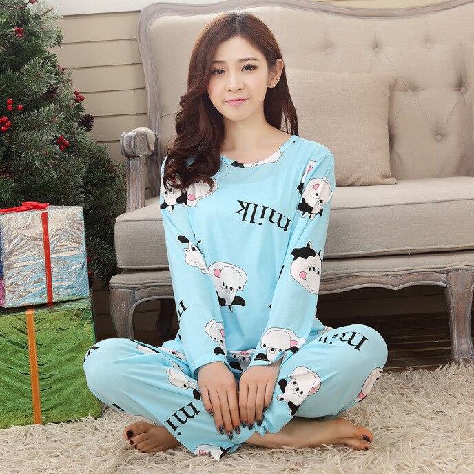 Hause Kleidung Lange Ärmeln Freizeit Pyjamas Sets 2017 Herbst Karton Lange Hose Frauen Pyjamas Weibliche Damen Nachtwäsche Anzug